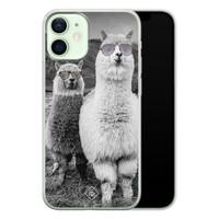 Casimoda iPhone 12 mini siliconen telefoonhoesje - Llama hipster