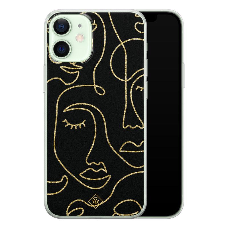 Casimoda iPhone 12 mini siliconen hoesje - Abstract faces