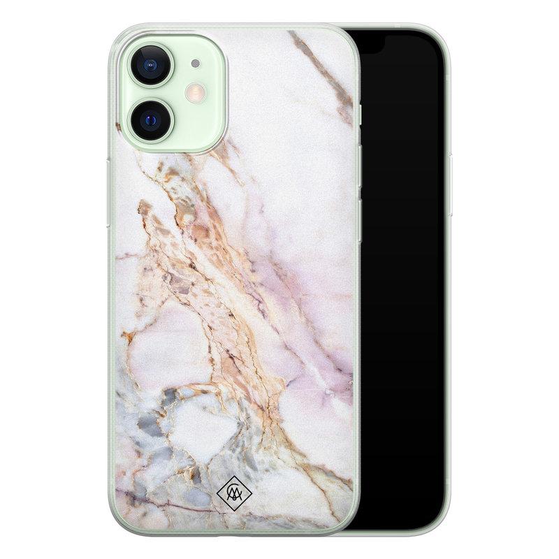 Casimoda iPhone 12 mini siliconen telefoonhoesje - Parelmoer marmer