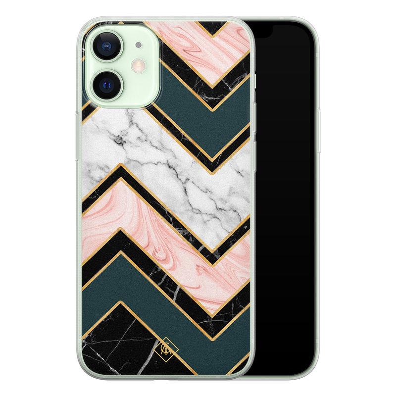 Casimoda iPhone 12 mini siliconen hoesje - Marmer triangles