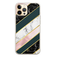 Casimoda iPhone 12 Pro siliconen hoesje - Marble stripes