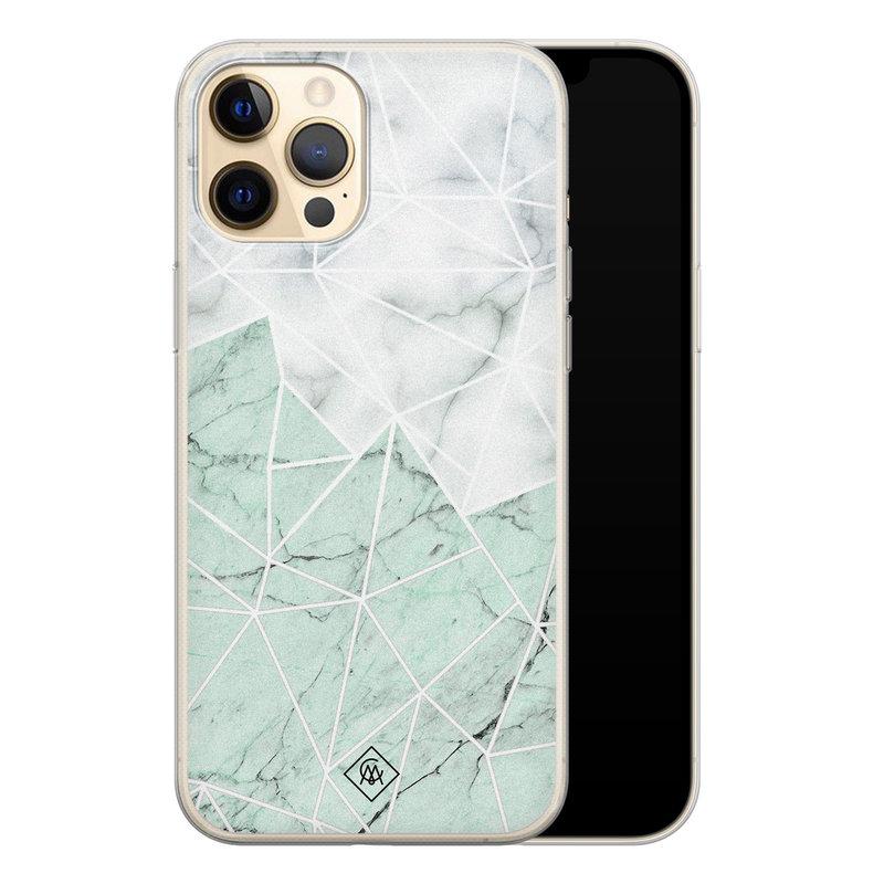 Casimoda iPhone 12 Pro siliconen telefoonhoesje - Marmer mint mix