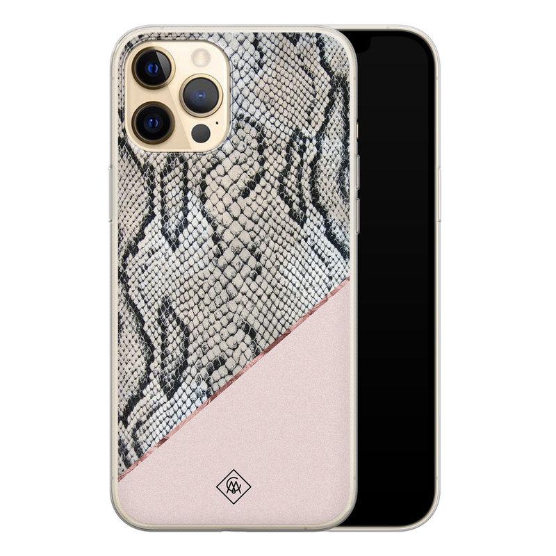 Casimoda iPhone 12 Pro siliconen hoesje - Snake print