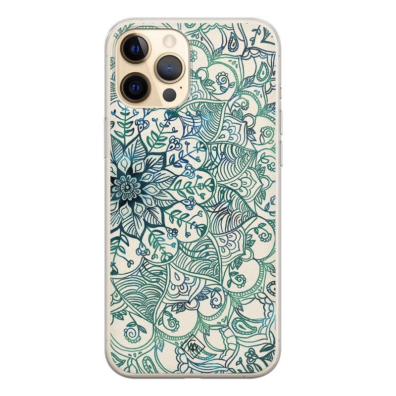 Casimoda iPhone 12 Pro siliconen hoesje - Mandala blauw