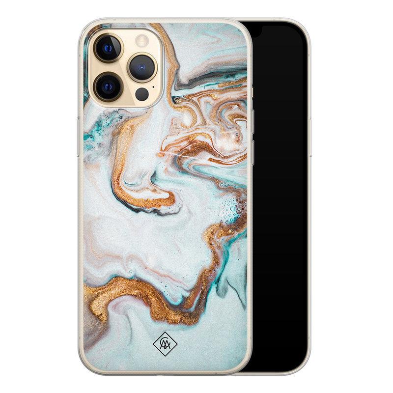 Casimoda iPhone 12 Pro siliconen hoesje - Marmer blauw goud