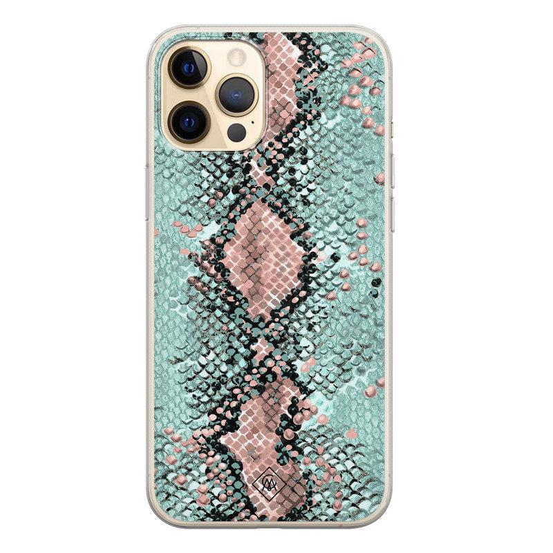 Casimoda iPhone 12 Pro siliconen hoesje - Snake pastel