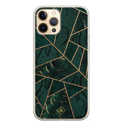 Casimoda iPhone 12 Pro siliconen hoesje - Abstract groen