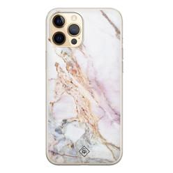 Casimoda iPhone 12 Pro siliconen hoesje - Parelmoer marmer