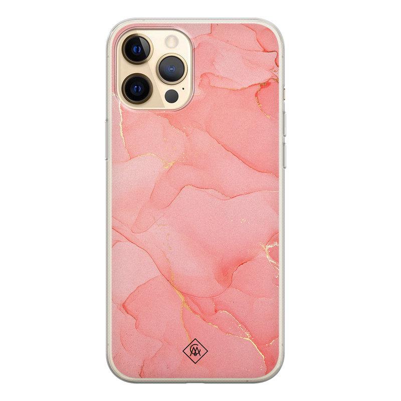 Casimoda iPhone 12 Pro siliconen hoesje - Marmer roze