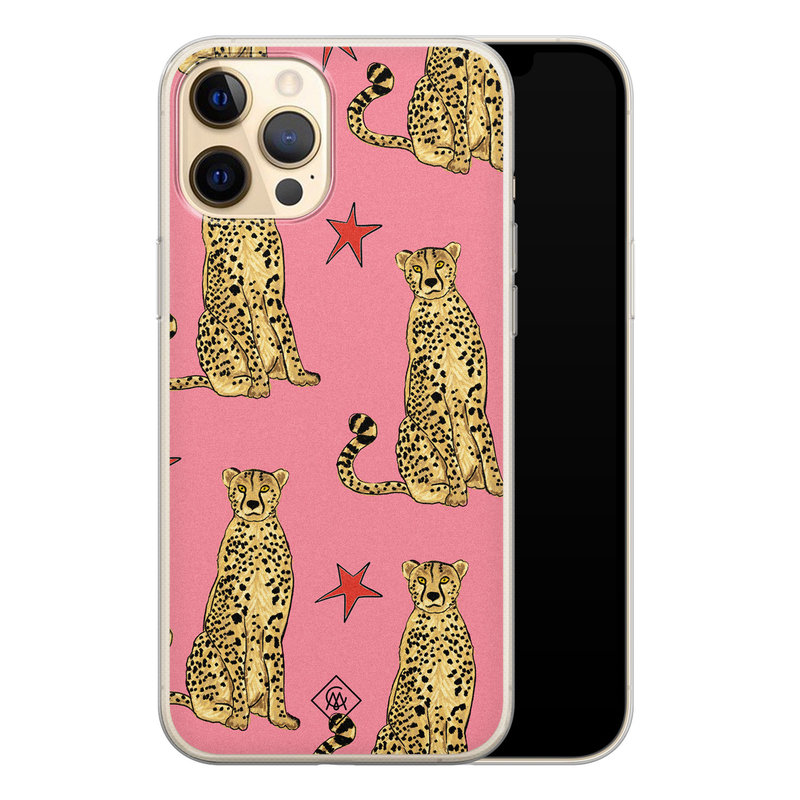 Casimoda iPhone 12 Pro siliconen hoesje - The pink leopard