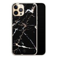 Casimoda iPhone 12 Pro siliconen hoesje - Marmer zwart