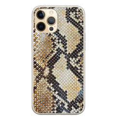 Casimoda iPhone 12 Pro siliconen hoesje - Golden snake