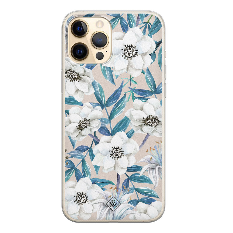 Casimoda iPhone 12 Pro siliconen telefoonhoesje - Touch of flowers