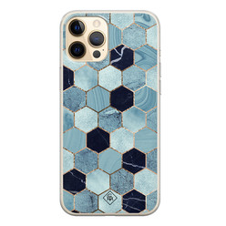 Casimoda iPhone 12 Pro siliconen hoesje - Blue cubes