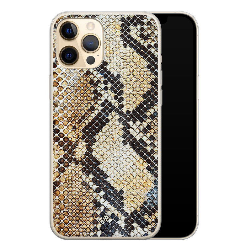 Casimoda iPhone 12 Pro siliconen hoesje - Golden snake