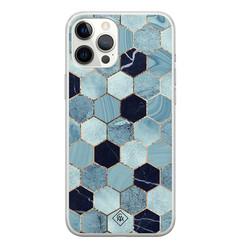 Casimoda iPhone 12 Pro Max siliconen hoesje - Blue cubes
