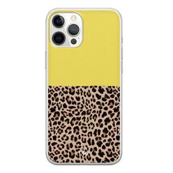 Casimoda iPhone 12 Pro Max siliconen hoesje - Luipaard geel