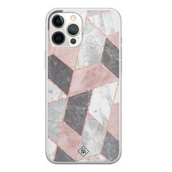 Casimoda iPhone 12 Pro Max siliconen hoesje - Stone grid