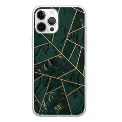 Casimoda iPhone 12 Pro Max siliconen hoesje - Abstract groen