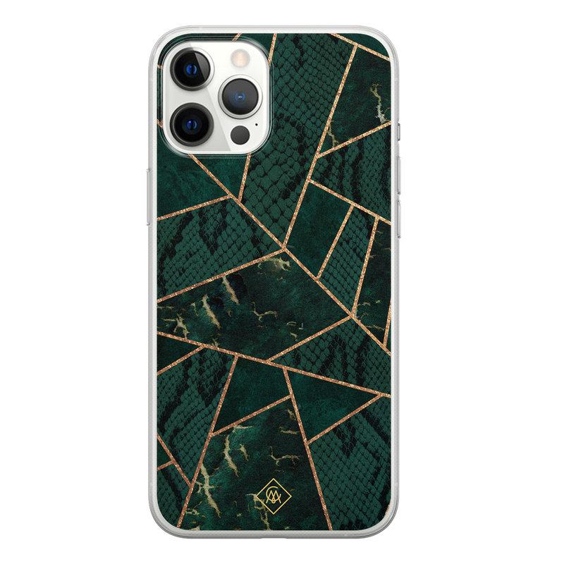 Casimoda iPhone 12 Pro Max siliconen hoesje - Abstract groen
