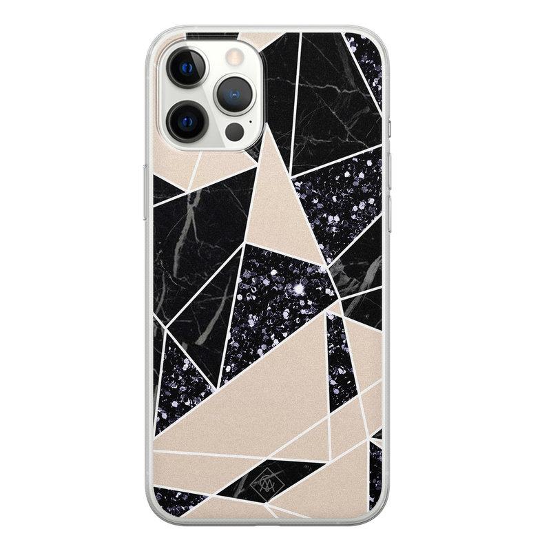Casimoda iPhone 12 Pro Max siliconen telefoonhoesje - Abstract painted
