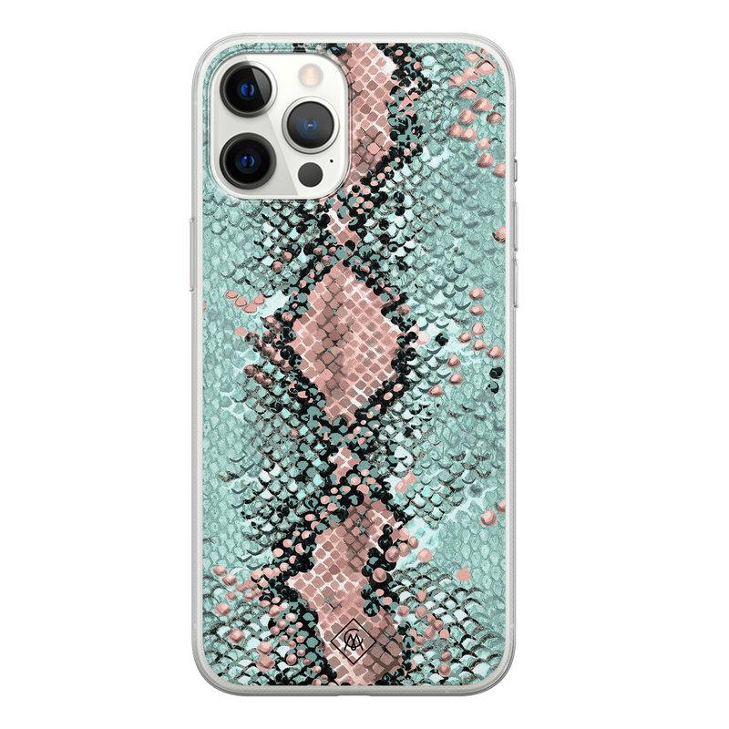 Casimoda iPhone 12 Pro Max siliconen hoesje - Snake pastel