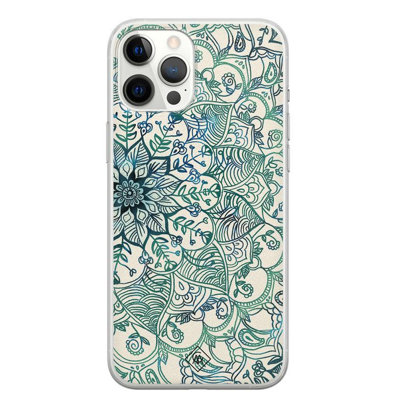 Casimoda iPhone 12 Pro Max siliconen hoesje - Mandala blauw
