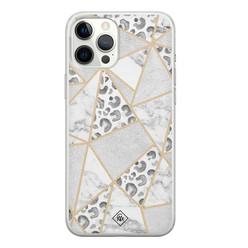 Casimoda iPhone 12 Pro Max siliconen hoesje - Stone & leopard print