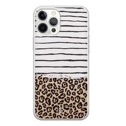 Casimoda iPhone 12 Pro Max siliconen hoesje - Leopard lines