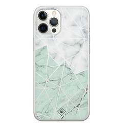 Casimoda iPhone 12 Pro Max siliconen hoesje - Marmer mint mix
