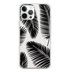 Casimoda iPhone 12 Pro Max siliconen hoesje - Palm leaves silhouette