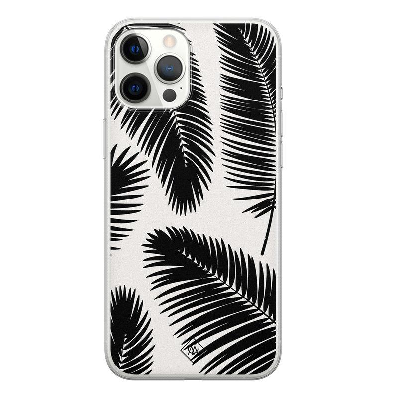 Casimoda iPhone 12 Pro Max siliconen telefoonhoesje - Palm leaves silhouette