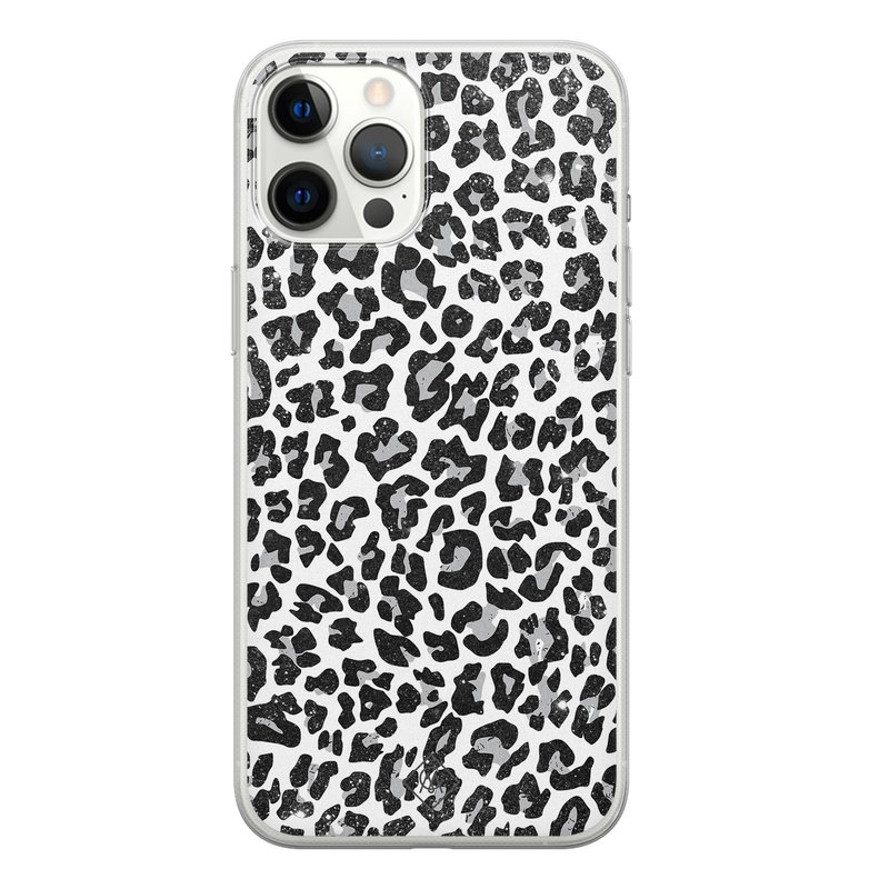 Casimoda iPhone 12 Pro Max siliconen telefoonhoesje - Luipaard grijs