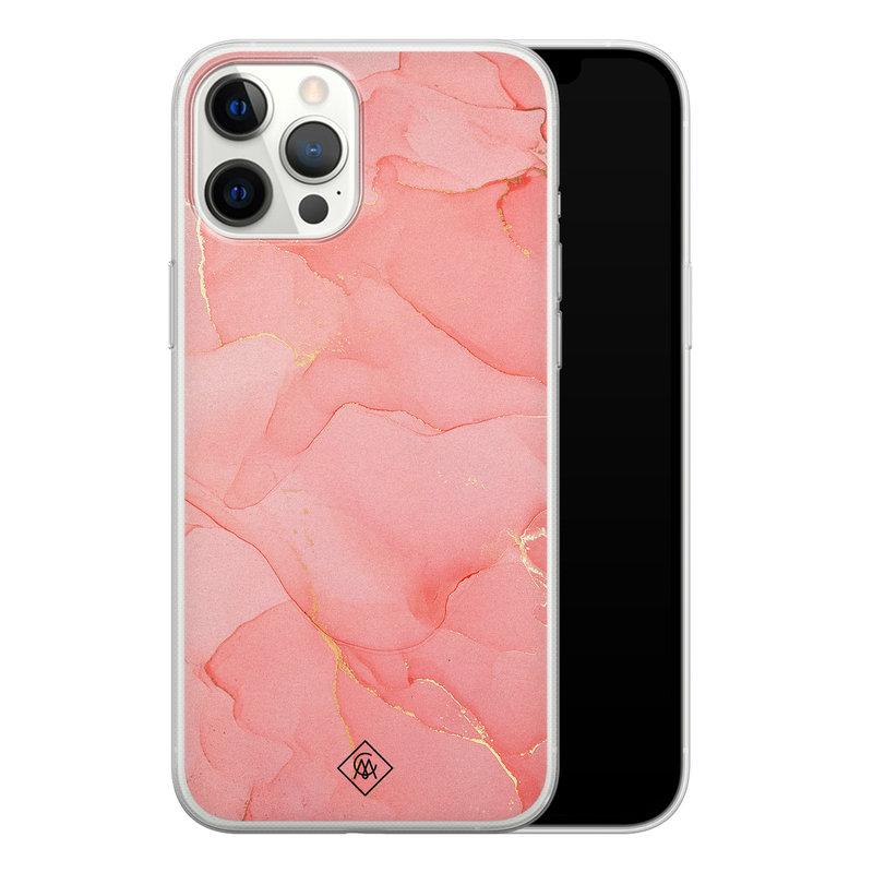 Casimoda iPhone 12 Pro Max siliconen hoesje - Marmer roze