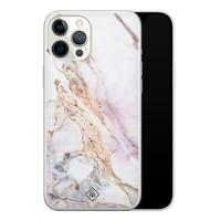 Casimoda iPhone 12 Pro Max siliconen telefoonhoesje - Parelmoer marmer