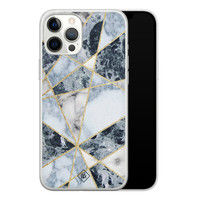 Casimoda iPhone 12 Pro Max siliconen hoesje - Marmer blauw