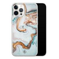 Casimoda iPhone 12 Pro Max siliconen hoesje - Marmer blauw goud