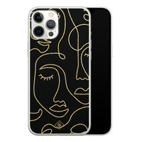 Casimoda iPhone 12 Pro Max siliconen hoesje - Abstract faces