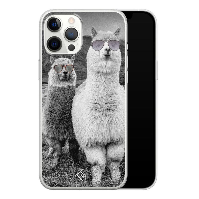 Casimoda iPhone 12 Pro Max siliconen telefoonhoesje - Llama hipster