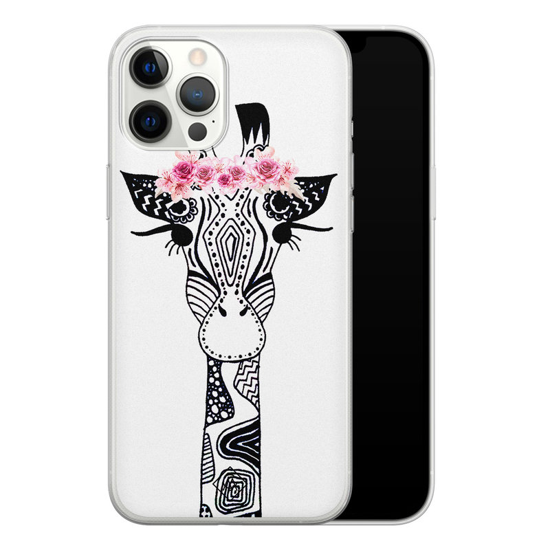 Casimoda iPhone 12 Pro Max siliconen telefoonhoesje - Giraffe