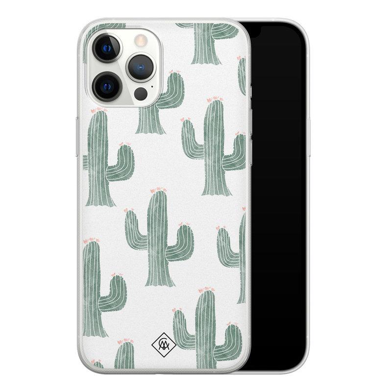 Casimoda iPhone 12 Pro Max siliconen telefoonhoesje - Cactus print