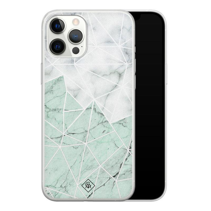 Casimoda iPhone 12 Pro Max siliconen telefoonhoesje - Marmer mint mix