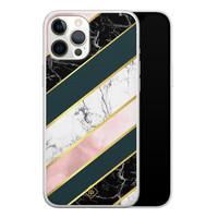 Casimoda iPhone 12 Pro Max siliconen hoesje - Marble stripes