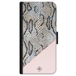 Casimoda iPhone 12 flipcase - Snake print roze