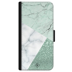 Casimoda iPhone 12 flipcase - Minty marmer collage