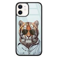 Casimoda iPhone 12 mini glazen hardcase - Tijger wild