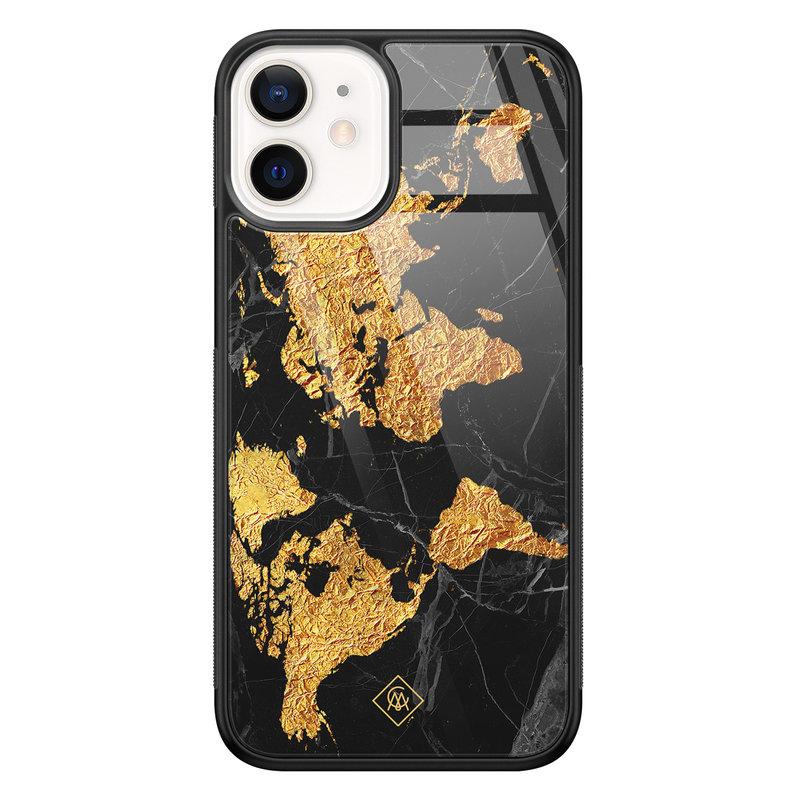 Casimoda iPhone 12 mini glazen hardcase - Wereldkaart