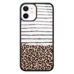 Casimoda iPhone 12 mini glazen hardcase - Leopard lines