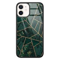 Casimoda iPhone 12 mini glazen hardcase - Abstract groen
