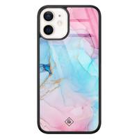Casimoda iPhone 12 mini glazen hardcase - Marble colorbomb